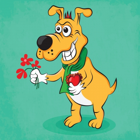 Cartoon funny dog in love with flowers and heart Vector