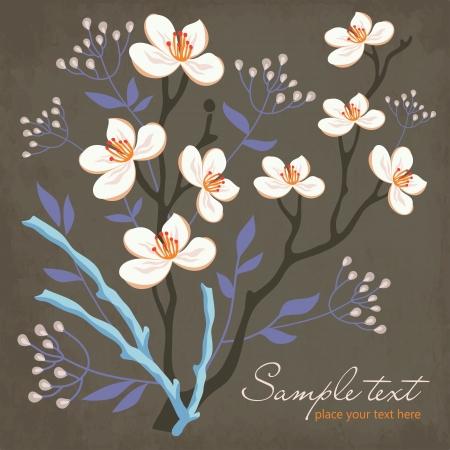 sauce: tarjeta con flores de primavera, ramas y árboles de sauce
