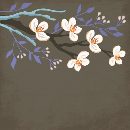 Spring blossom branch with willow tree Vector