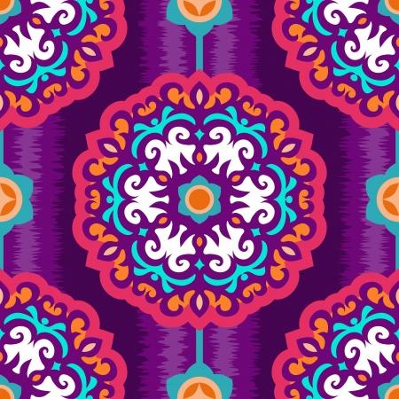 sem costura: Ornamento redondo Oriental no fundo violeta