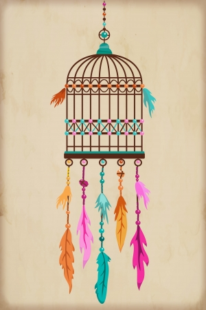 Vintage Bird Cage with colorful feathers and beads