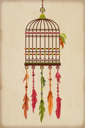 Vintage Bird Cage with colorful feathers and beads Vector