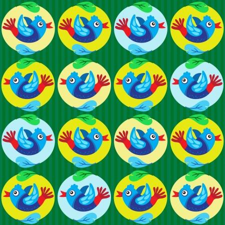 Cartoon Colorful Birds Pattern Vector