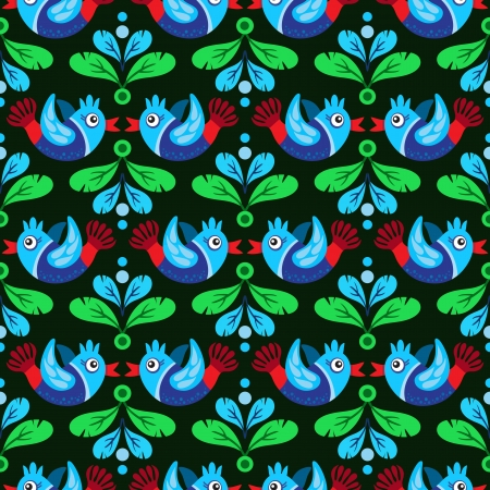 Colorful Birds and green and blue feather seamless pattern Vector