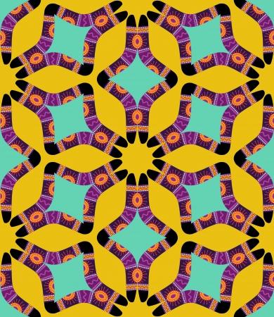 aboriginal art: Ethnic australian boomerang pattern on yellow ackground Illustration