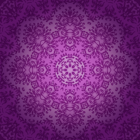 Lace circle oriental ornament, ornamental doily pattern on violet background. Vector