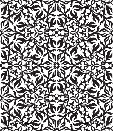 Black and white abstract hand-drawn seamless pattern. Vector