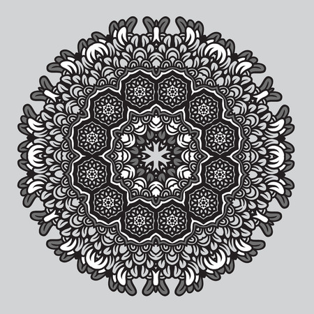 Circle floral ornament, round ornamental geometric doily pattern, black and white vector pattern.