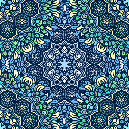 Graphic floral round ornamental doily seamless pattern. Blue ornamental seamless pattern.  イラスト・ベクター素材