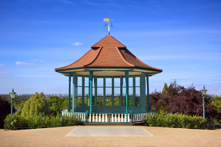 Bandstand City View. Scenic Public Park Landmark London Skyline Stock Photo