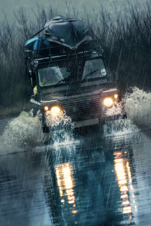 deluge: Driving Extreme Storm Weather. Flooded Road