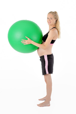 Happy Pregnant Woman Holding Balance Yoga Exercise Ball Stock Photo