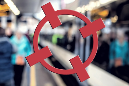 Terrorism Concept. Transport Target, Red Crosshairs. Terror Threat Stock Photo