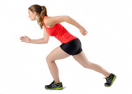 Sports Woman Running Race. Female Athlete Runner. Isolated