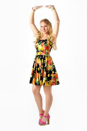Beautiful Woman Arms Raised Pose. Dancing