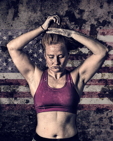 gritty: Female Athlete. Sports Woman. Gritty Grunge Style, US Flag Background. Stock Photo