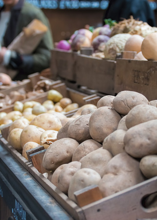 Potatoes For Sale At Market Stall