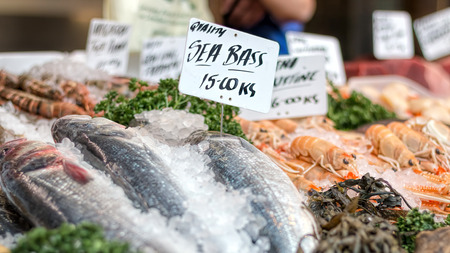 Fresh sea bass and seafood at market counter.