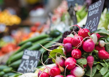 Radishes at fruit and vegetable market.