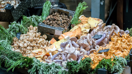 sulphur: Selection of mushrooms for sale at market.
