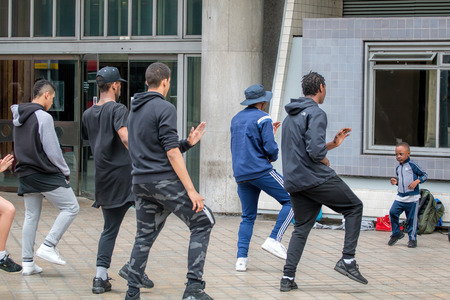 LONDON - MAY 26, 2016: Street Dancer Group Practice Outside