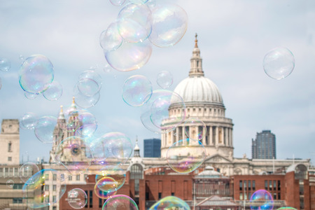 st pauls: Bubbles Floating St Pauls Cathedral London
