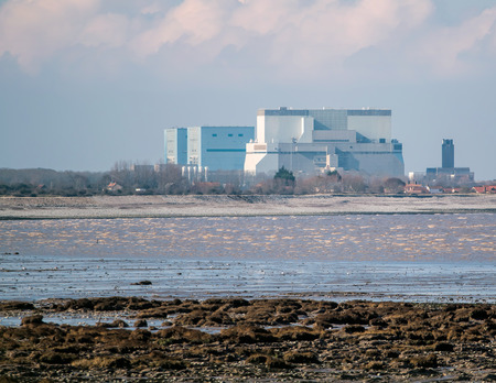 b: Somerset, UK - February 28, 2016: Hinkley Point Nuclear Power Station Somerset, UK. Proposed construction site of new nuclear power station project (Hinkley Point C). Editorial
