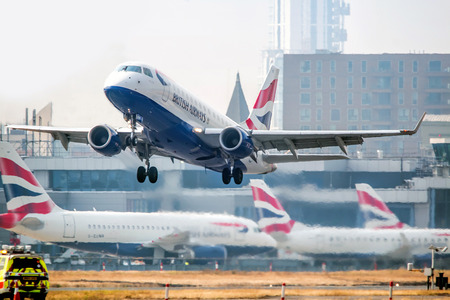 LONDON, 2016, OCTOBER 15: British Airways flight takes off from London City Airport: