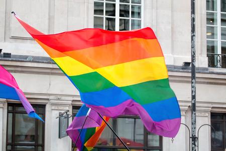 Drapeau arc-en-ciel de la fierté gay LGBT. Banque d'images