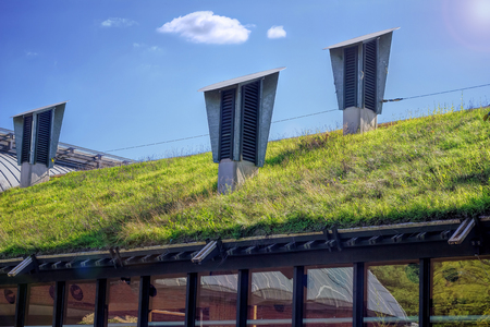 Green Living Roof On Public City Library. Eco Friendly Building