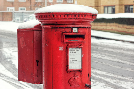 Snow Covered Post Box. Royal Mail Winter Stock Photo