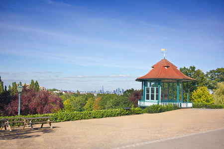 Bandstand Cityview. Scenic Public Park Landmark London Skyline