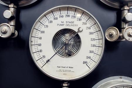 steam output: Analogue Gauge. Industrial Era Water Steam Measurement.