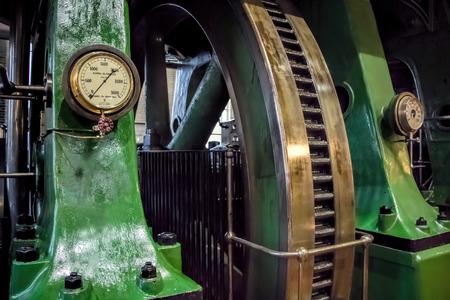 Industrial steam engine fly wheel.
