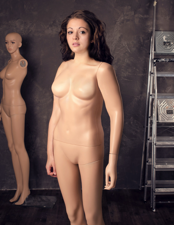 Young woman part mannequin dummy, fashion female body concept.