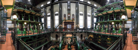 London, UK - September 09, 2015: Kempton Steamworks, large industrial steam engine and water works. Editorial