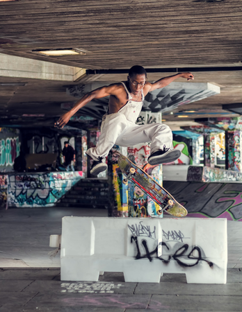 London, UK - May 26, 2016: Skateboarder At Southbank Undercroft  Skatepark