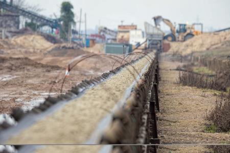 Industrial belt conveyor. Earth moving equipment.