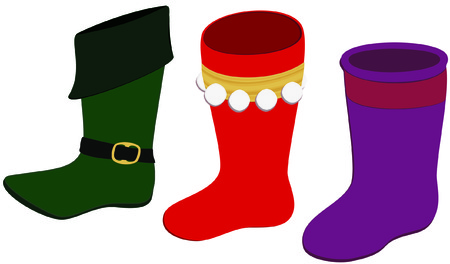 Vector elf shoe and two Christmas stockings.