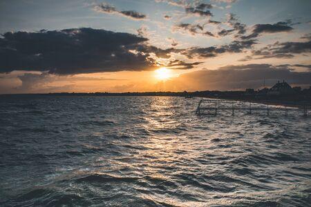 Sunset on the Danish Coast - Jutland 免版税图像