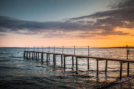 View from a Jetty on a beautiful Sunset at the danish Coast - Jutland