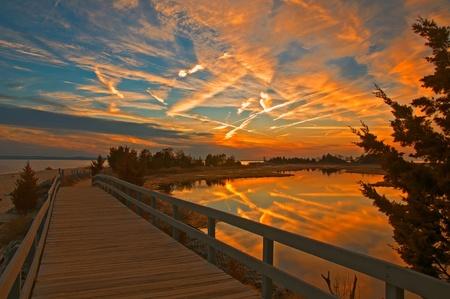 Dramatic Sunset of Sandy Hook 스톡 콘텐츠