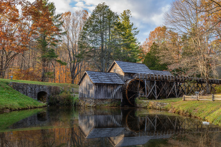 gristmill: Mabry Mill, a restored gristmill on the Blue Ridge Parkway in Virginia