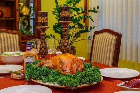 salad decoration: Roasted turkey on a platter with fresh salad decoration