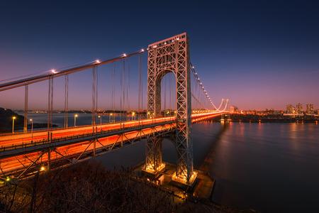 hudson river: The George Washington Bridge spanning the Hudson River at twilight in New York City. Stock Photo