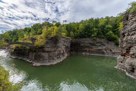 state park: Great Bend Overlook At Letchworth State Park In New York Stock Photo