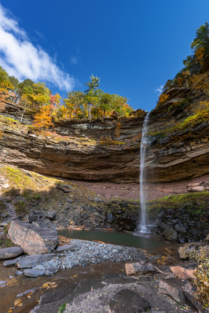 overhang: A sunny Autumn afternoon at Kaaterskill Falls  Catskills Mountains of New York.