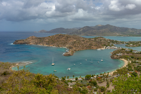 windward: View of English Harbor in Antigua from Shirley Heights