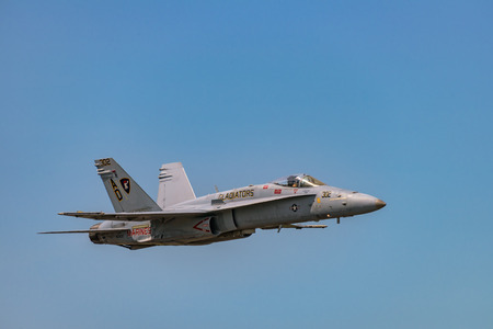 f 18: NEW WINDSOR, NY - SEPTEMBER 3, 2016: The evolution of F 18 Hornet from Stewart International Airport during the New York Airshow. Editorial