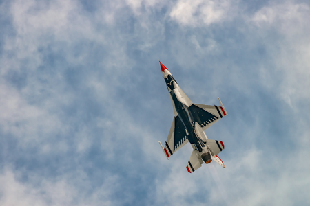 NEW WINDSOR, NY - SEPTEMBER 3, 2016: USAF Thunderbirds perform at the Stewart International Airport during the New York Airshow. Squadron is the official air demonstration team for the United States Air Force Editorial